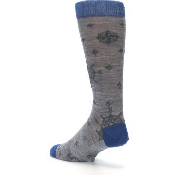 Image of Grey Blue Nautical Compass Men's Wool Lifestyle Socks (side-2-back-15)