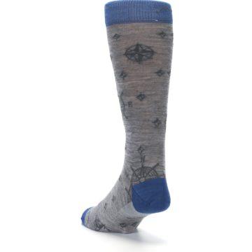 Image of Grey Blue Nautical Compass Men's Wool Lifestyle Socks (side-2-back-16)