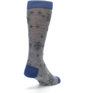 Image of Grey Blue Nautical Compass Men's Wool Lifestyle Socks (side-1-back-21)