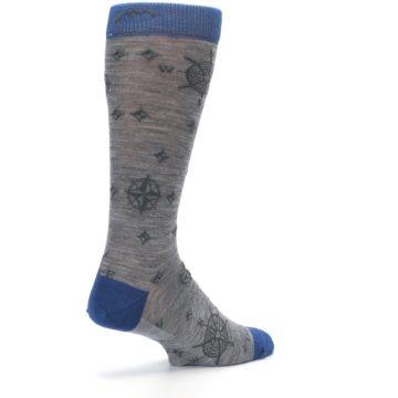 Image of Grey Blue Nautical Compass Men's Wool Lifestyle Socks (side-1-back-22)