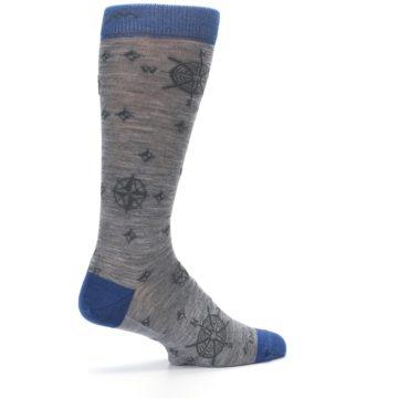Image of Grey Blue Nautical Compass Men's Wool Lifestyle Socks (side-1-23)