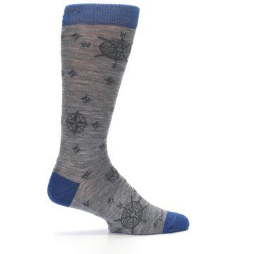 Image of Grey Blue Nautical Compass Men's Wool Lifestyle Socks (side-1-24)