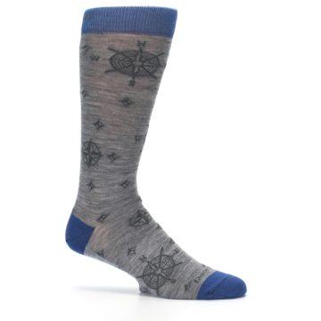 Image of Grey Blue Nautical Compass Men's Wool Lifestyle Socks (side-1-25)