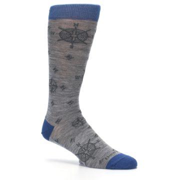Image of Grey Blue Nautical Compass Men's Wool Lifestyle Socks (side-1-26)