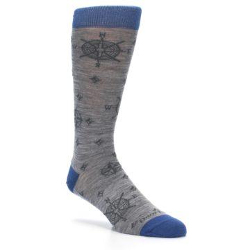 Image of Grey Blue Nautical Compass Men's Wool Lifestyle Socks (side-1-27)