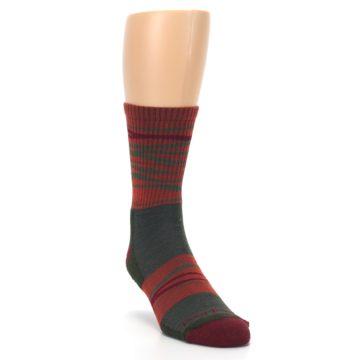 Image of Rust Burgundy Wave Stripe Wool Men's Hiking Socks (side-1-front-02)