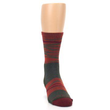 Image of Rust Burgundy Wave Stripe Wool Men's Hiking Socks (side-1-front-03)