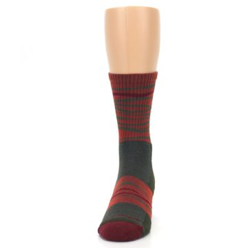 Image of Rust Burgundy Wave Stripe Wool Men's Hiking Socks (front-05)