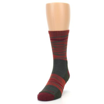 Image of Rust Burgundy Wave Stripe Wool Men's Hiking Socks (side-2-front-06)