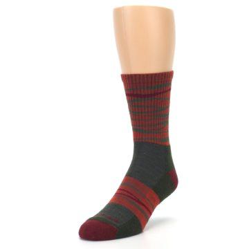Image of Rust Burgundy Wave Stripe Wool Men's Hiking Socks (side-2-front-07)
