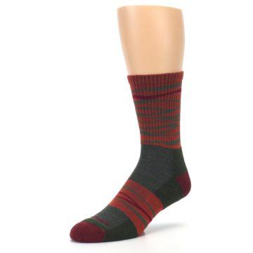 Image of Rust Burgundy Wave Stripe Wool Men's Hiking Socks (side-2-front-08)