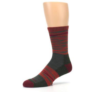 Image of Rust Burgundy Wave Stripe Wool Men's Hiking Socks (side-2-09)