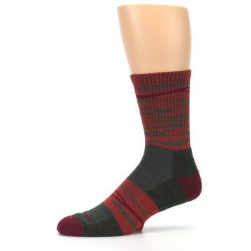 Image of Rust Burgundy Wave Stripe Wool Men's Hiking Socks (side-2-10)