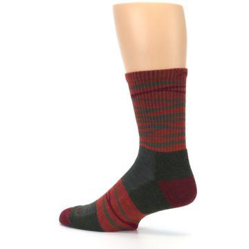 Image of Rust Burgundy Wave Stripe Wool Men's Hiking Socks (side-2-13)