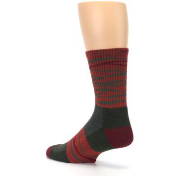 Image of Rust Burgundy Wave Stripe Wool Men's Hiking Socks (side-2-back-14)