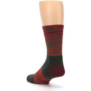 Image of Rust Burgundy Wave Stripe Wool Men's Hiking Socks (side-2-back-15)