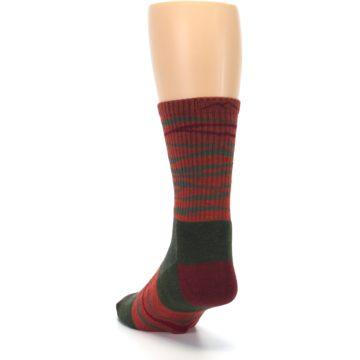 Image of Rust Burgundy Wave Stripe Wool Men's Hiking Socks (side-2-back-16)