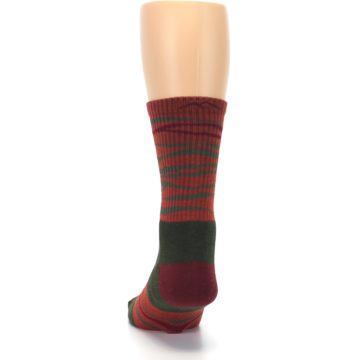 Image of Rust Burgundy Wave Stripe Wool Men's Hiking Socks (back-17)