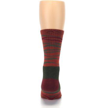 Image of Rust Burgundy Wave Stripe Wool Men's Hiking Socks (back-18)