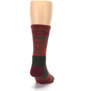 Image of Rust Burgundy Wave Stripe Wool Men's Hiking Socks (back-19)