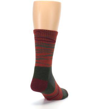 Image of Rust Burgundy Wave Stripe Wool Men's Hiking Socks (side-1-back-20)