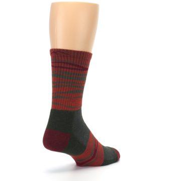 Image of Rust Burgundy Wave Stripe Wool Men's Hiking Socks (side-1-back-21)
