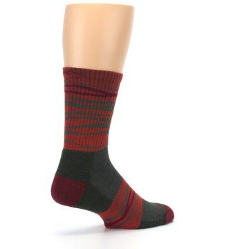 Image of Rust Burgundy Wave Stripe Wool Men's Hiking Socks (side-1-back-22)