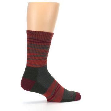 Image of Rust Burgundy Wave Stripe Wool Men's Hiking Socks (side-1-23)
