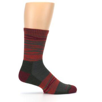 Image of Rust Burgundy Wave Stripe Wool Men's Hiking Socks (side-1-24)