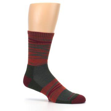 Image of Rust Burgundy Wave Stripe Wool Men's Hiking Socks (side-1-25)