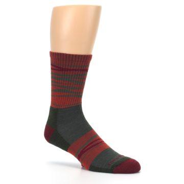 Image of Rust Burgundy Wave Stripe Wool Men's Hiking Socks (side-1-26)