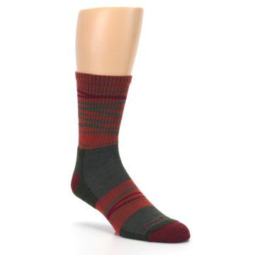 Image of Rust Burgundy Wave Stripe Wool Men's Hiking Socks (side-1-27)
