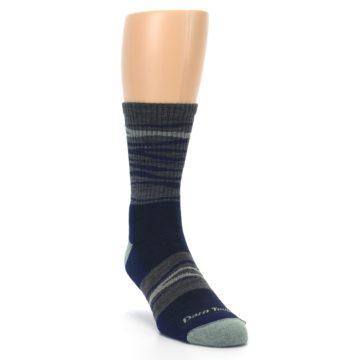 Image of Navy Grey Wave Stripe Men's Wool Hiking Socks (side-1-front-02)