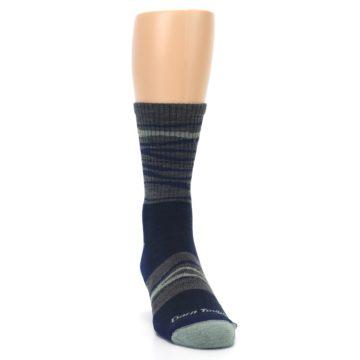 Image of Navy Grey Wave Stripe Men's Wool Hiking Socks (side-1-front-03)