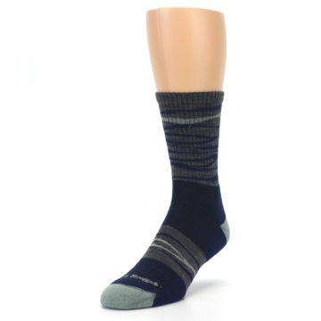Image of Navy Grey Wave Stripe Men's Wool Hiking Socks (side-2-front-07)