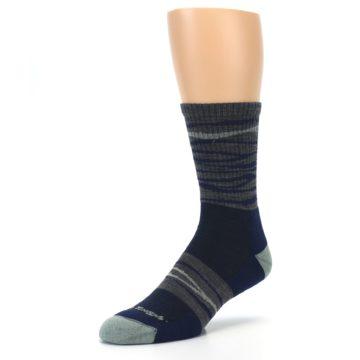 Image of Navy Grey Wave Stripe Men's Wool Hiking Socks (side-2-front-08)