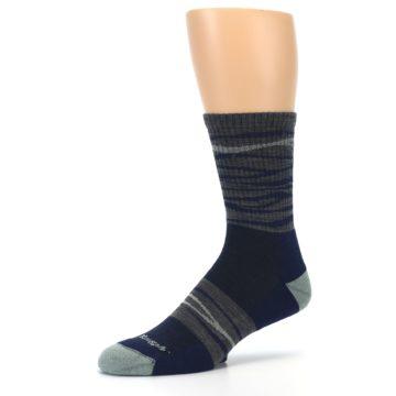 Image of Navy Grey Wave Stripe Men's Wool Hiking Socks (side-2-09)
