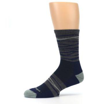 Image of Navy Grey Wave Stripe Men's Wool Hiking Socks (side-2-10)