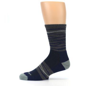 Image of Navy Grey Wave Stripe Men's Wool Hiking Socks (side-2-11)