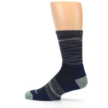 Image of Navy Grey Wave Stripe Men's Wool Hiking Socks (side-2-12)
