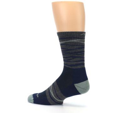 Image of Navy Grey Wave Stripe Men's Wool Hiking Socks (side-2-13)