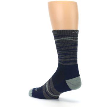 Image of Navy Grey Wave Stripe Men's Wool Hiking Socks (side-2-back-14)