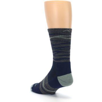 Image of Navy Grey Wave Stripe Men's Wool Hiking Socks (side-2-back-15)