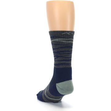 Image of Navy Grey Wave Stripe Men's Wool Hiking Socks (side-2-back-16)