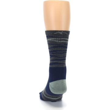 Image of Navy Grey Wave Stripe Men's Wool Hiking Socks (back-17)