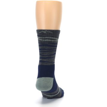Image of Navy Grey Wave Stripe Men's Wool Hiking Socks (back-19)