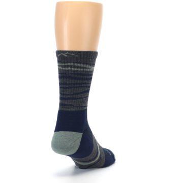 Image of Navy Grey Wave Stripe Men's Wool Hiking Socks (side-1-back-20)