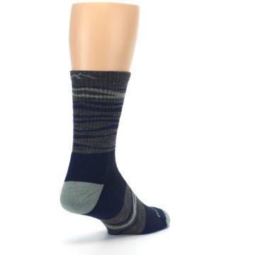 Image of Navy Grey Wave Stripe Men's Wool Hiking Socks (side-1-back-21)
