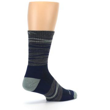Image of Navy Grey Wave Stripe Men's Wool Hiking Socks (side-1-back-22)