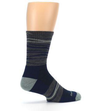 Image of Navy Grey Wave Stripe Men's Wool Hiking Socks (side-1-23)
